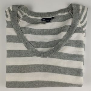 Gap Scoop Necked Sweater Gray and White Stripe